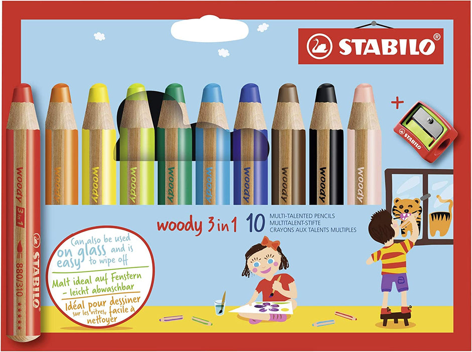 Stabilo Woody Coloring Pencils with Sharpener , Multicolored Set of 10