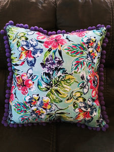 Multi Color Hawaiian Floral Pillow