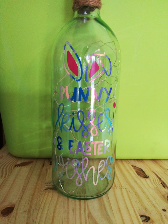 Bunny Kisses Light Up Wine Bottle Decor
