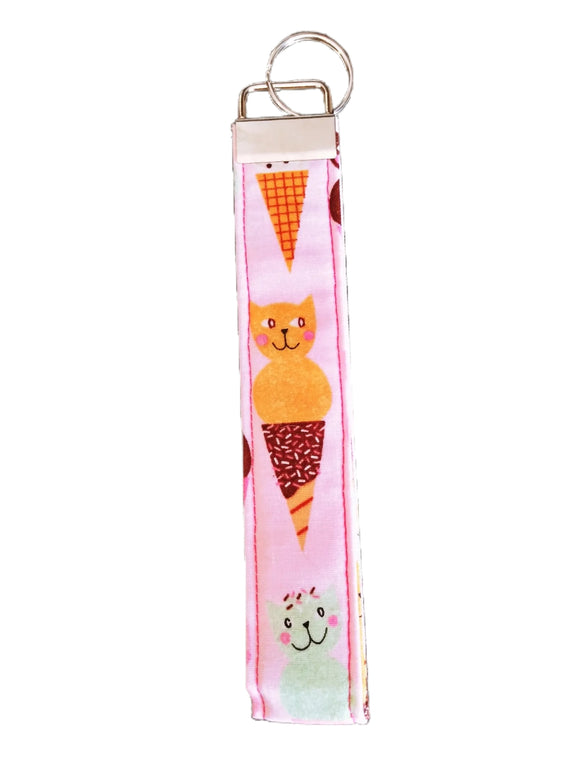 Ice Cream Kitty Key Fob Wristlet