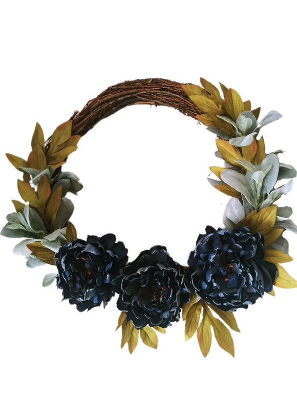 Blue Floral Grapevine Wreath