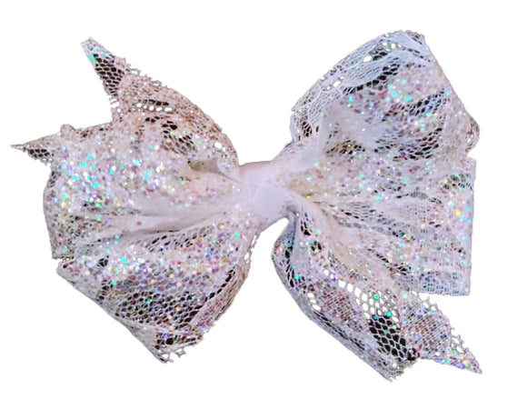 White Glitter Lace Hair Bow