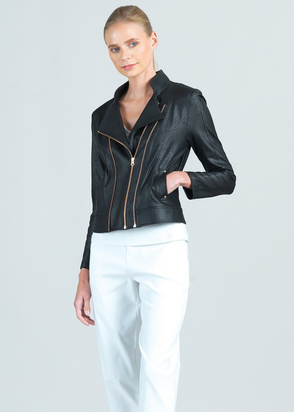 Vanessa Liquid Leather Double-Zip Jacket
