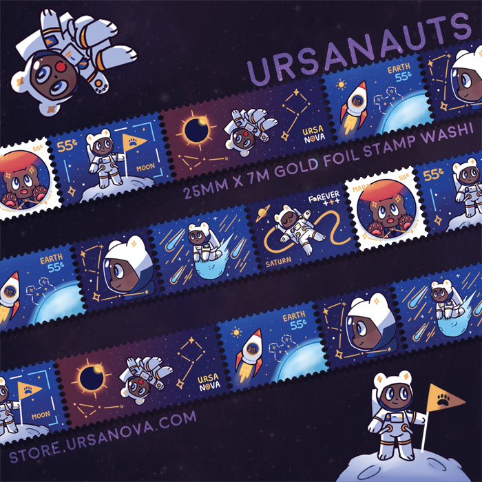 [URSANOVA] Ursanauts Gold Foil Stamp Washi Tape