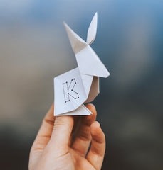 A folded piece of paper resembling a kangaroo