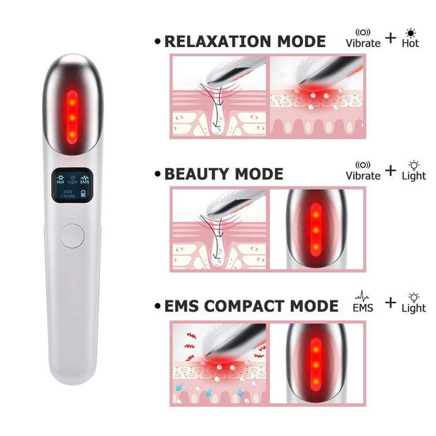 Vibration Eyes Massage Red Light Therapy & Anti Wrinkles Remove - Fedepot