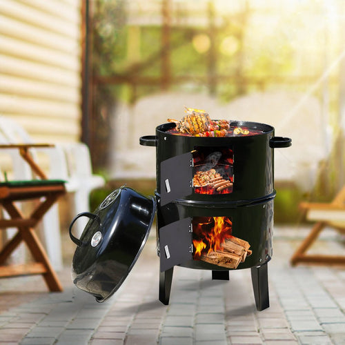 Bostin Life 3 In 1 Charcoal Bbq Grill Smoker Portable Outdoor Barbecue Roaster Steel Camping