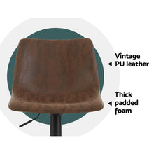 Load image into Gallery viewer, Bostin Life 2X Kitchen Bar Stools Gas Lift Stool Chairs Swivel Vintage Leather Brown Black Coated