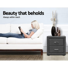Load image into Gallery viewer, Bostin Life Fabric Bedside Table - Grey Dropshipzone
