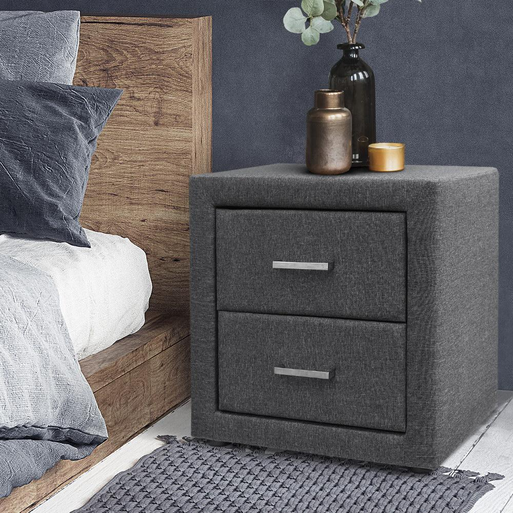 Bostin Life Fabric Bedside Table - Grey Dropshipzone