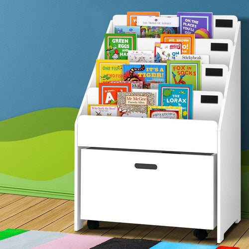 Bostin Life Keezi Kids Bookcase Childrens Bookshelf Organiser Storage Shelf Wooden White Baby & >