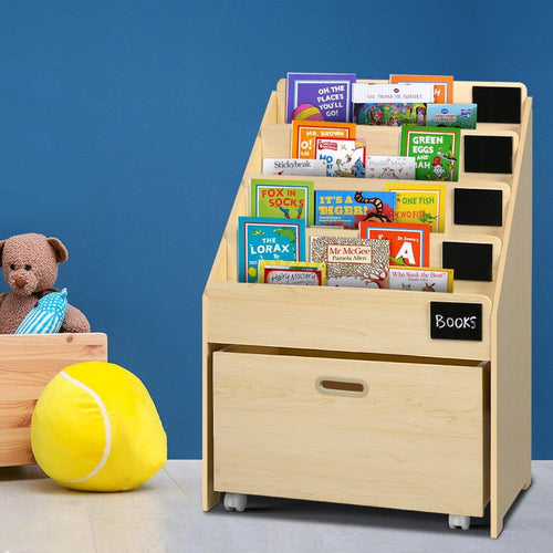 Bostin Life Keezi Kids Bookcase Childrens Bookshelf Organiser Storage Shelf Wooden Beige