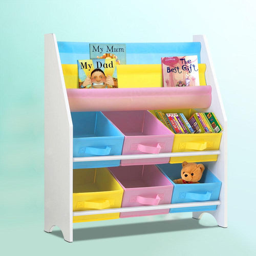 Bostin Life Keezi Kids Bookcase Childrens Bookshelf Toy Storage Organizer 2 Tiers Shelves Baby & >