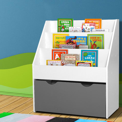 Bostin Life Keezi Kids Bookshelf Childrens Bookcase Organiser Storage Shelf Wooden White Baby & >