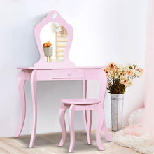Load image into Gallery viewer, Bostin Life Kids Vanity Dressing Table Stool Set Mirror Drawer Children Makeup Pink Furniture >