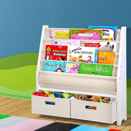 Bostin Life Keezi 4 Tier Kids Bookshelf Wooden Bookcase Children Toy Organiser Display Rack