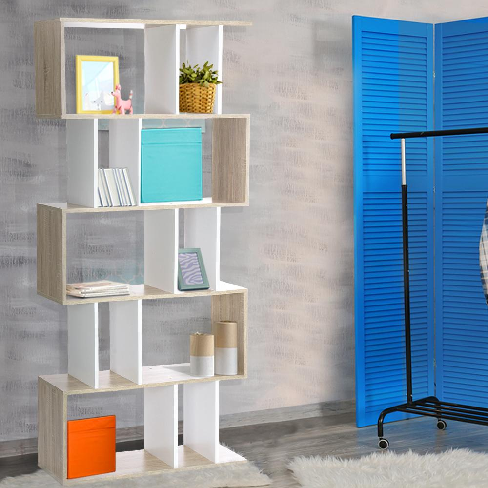 Bosin Life Artiss 5 Tier Display Book Storage Shelf Unit - White Brown Dropshipzone