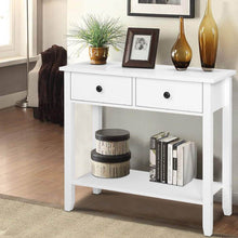 Load image into Gallery viewer, Hallway Console Table Hall Side Entry 2 Drawers Display White Desk Furniture > Living Room