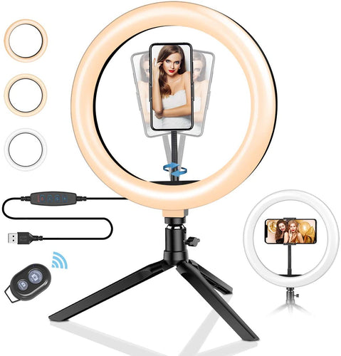 Bostin Life 10Inch Led Studio Lamp With Live Desktop Tripod Phone Holder Selfie Ring Light