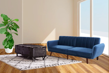 Load image into Gallery viewer, Bostin Life Sofa Bed Lounge 3 Seater Futon Couch Recline Chair Wooden Velvet Blue Dropshipzone