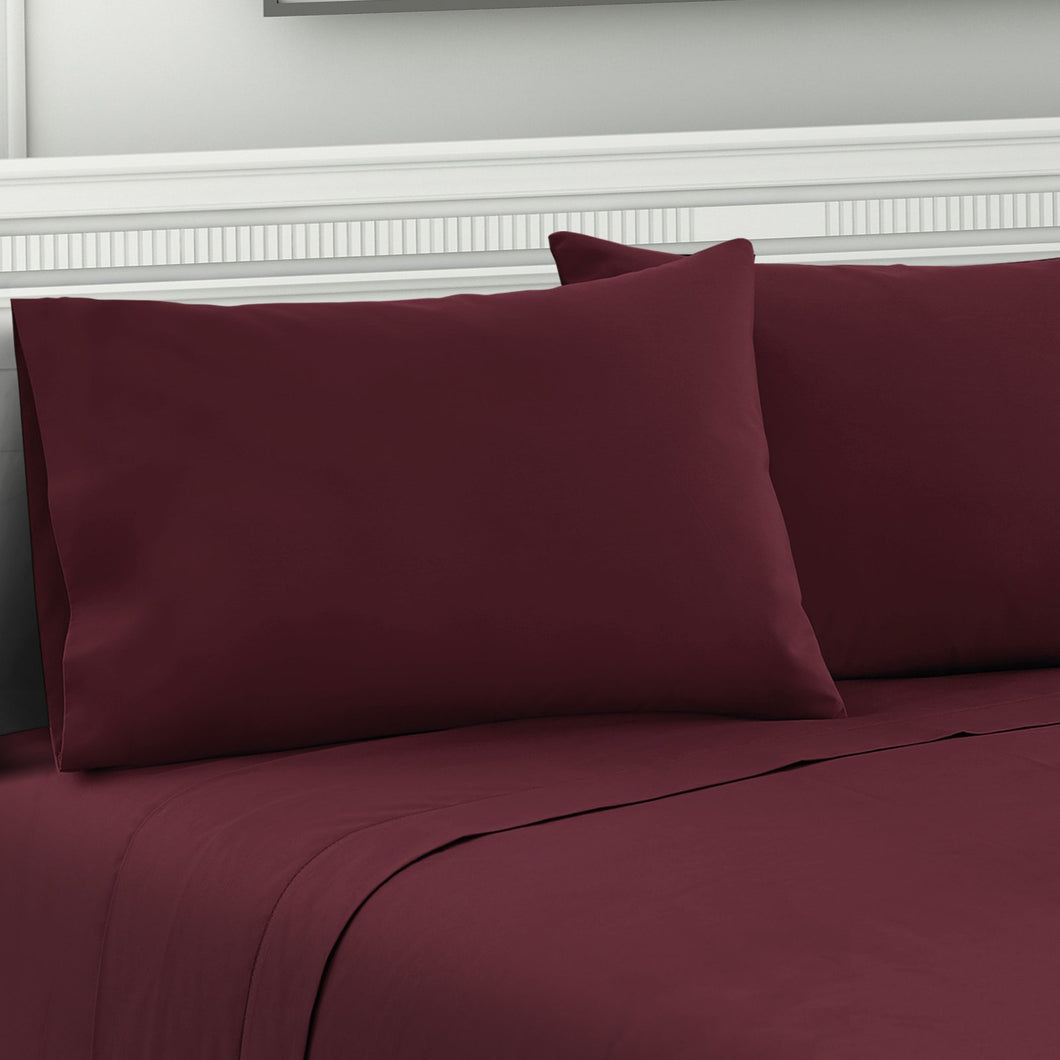 Bostin Life Giselle Bedding Queen Burgundy 4Pcs Bed Sheet Set Pillowcase Flat Dropshipzone