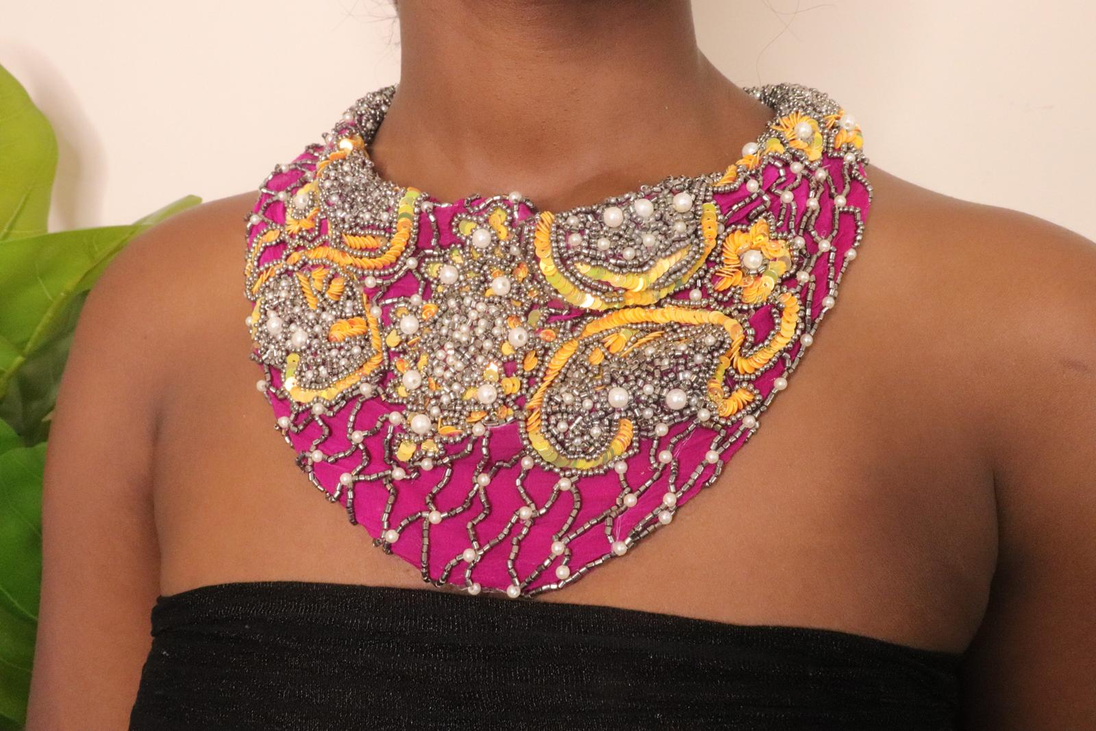 Handmade Fuchsia Chiffon Scarf Necklace Set with Embroidered Sequins, Beads, and Pearls