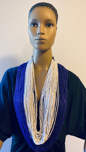 Blue and White Long Layered Seed Bead Necklace