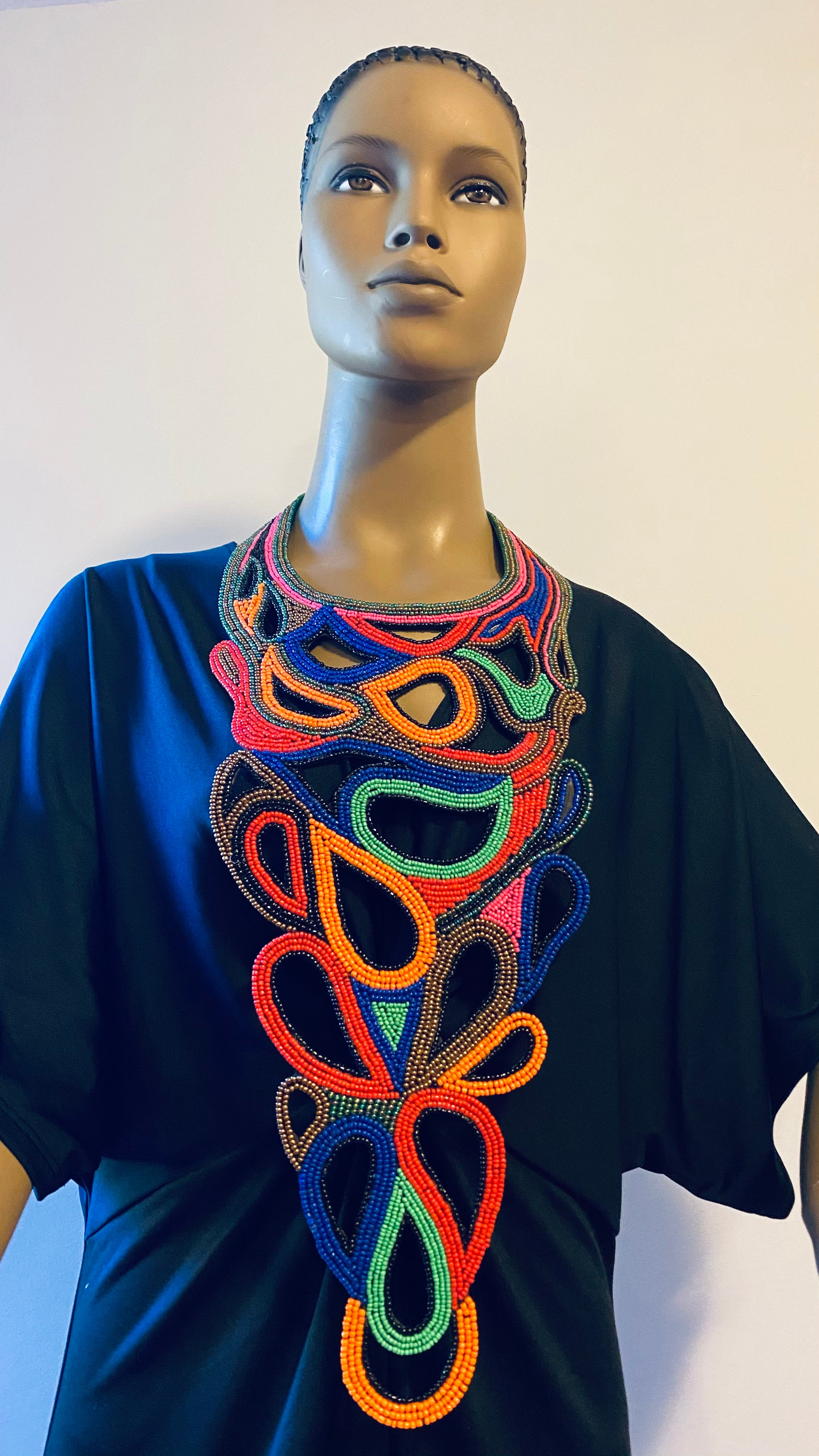 Multi Colors Statement Embroidered forged necklace