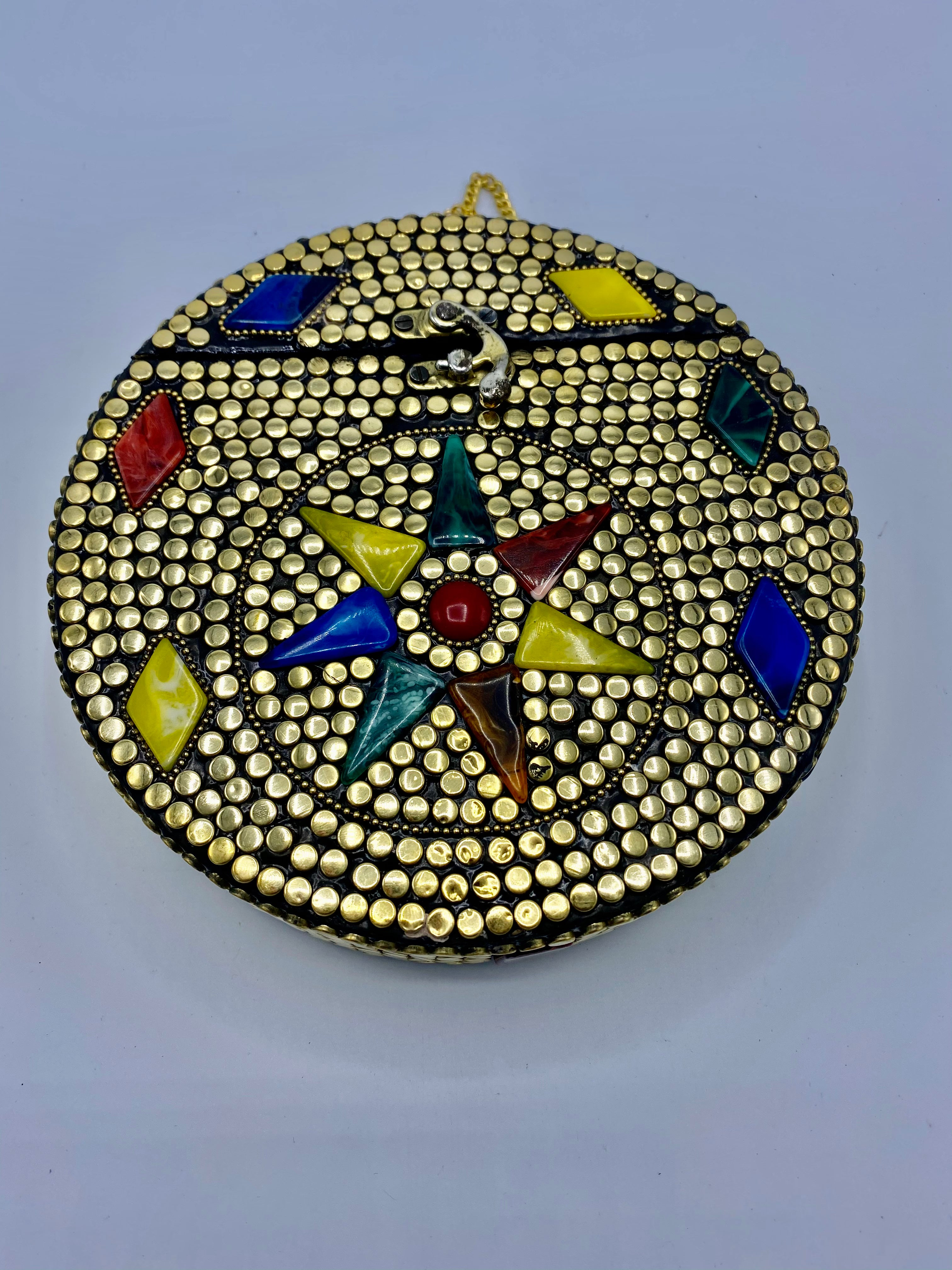 Round Golden Buttons with Multi Color Star in Center Design  Stones clutch