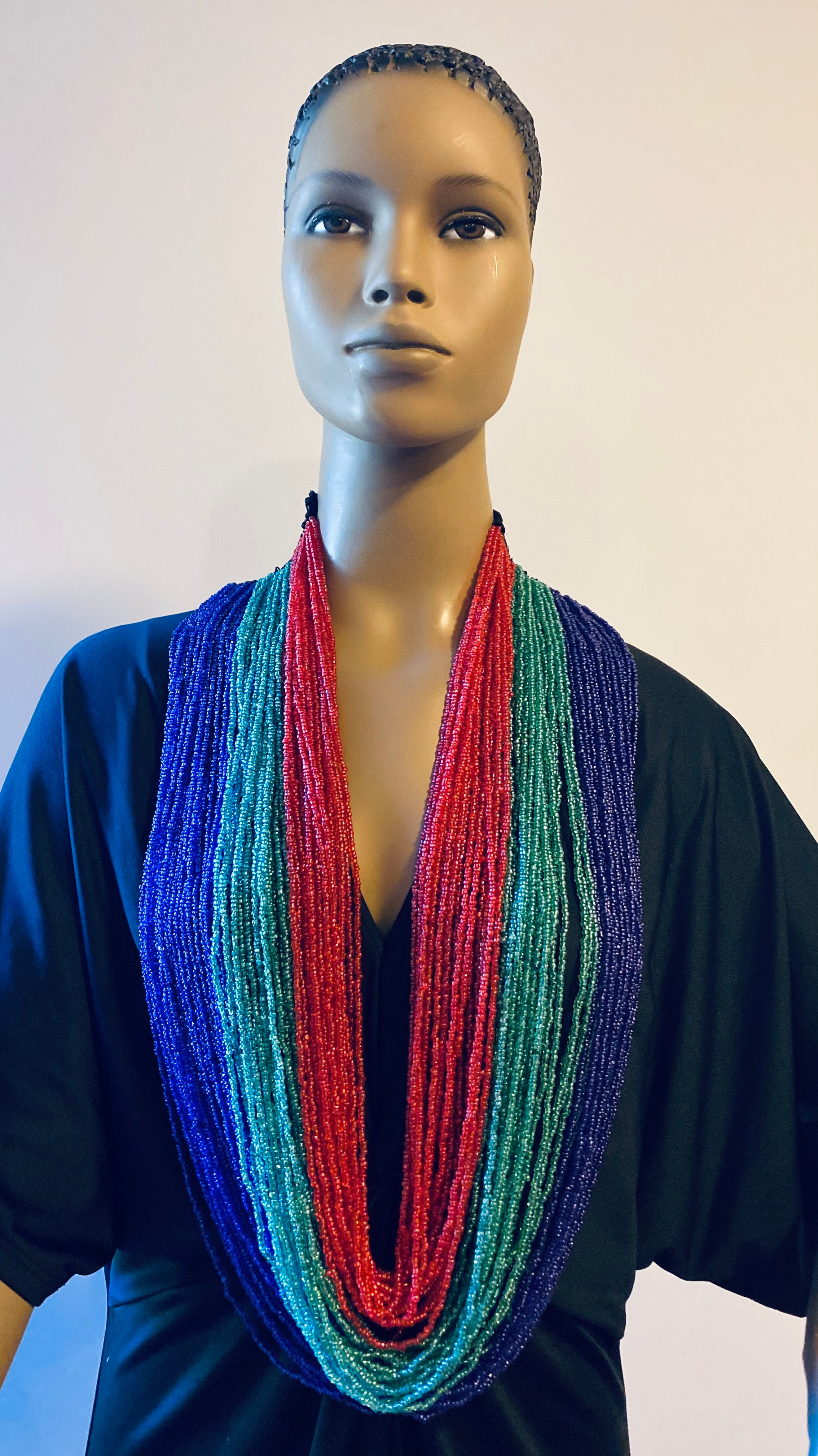 Light Green, Navy, and Red Long Layered Seed Bead Necklace