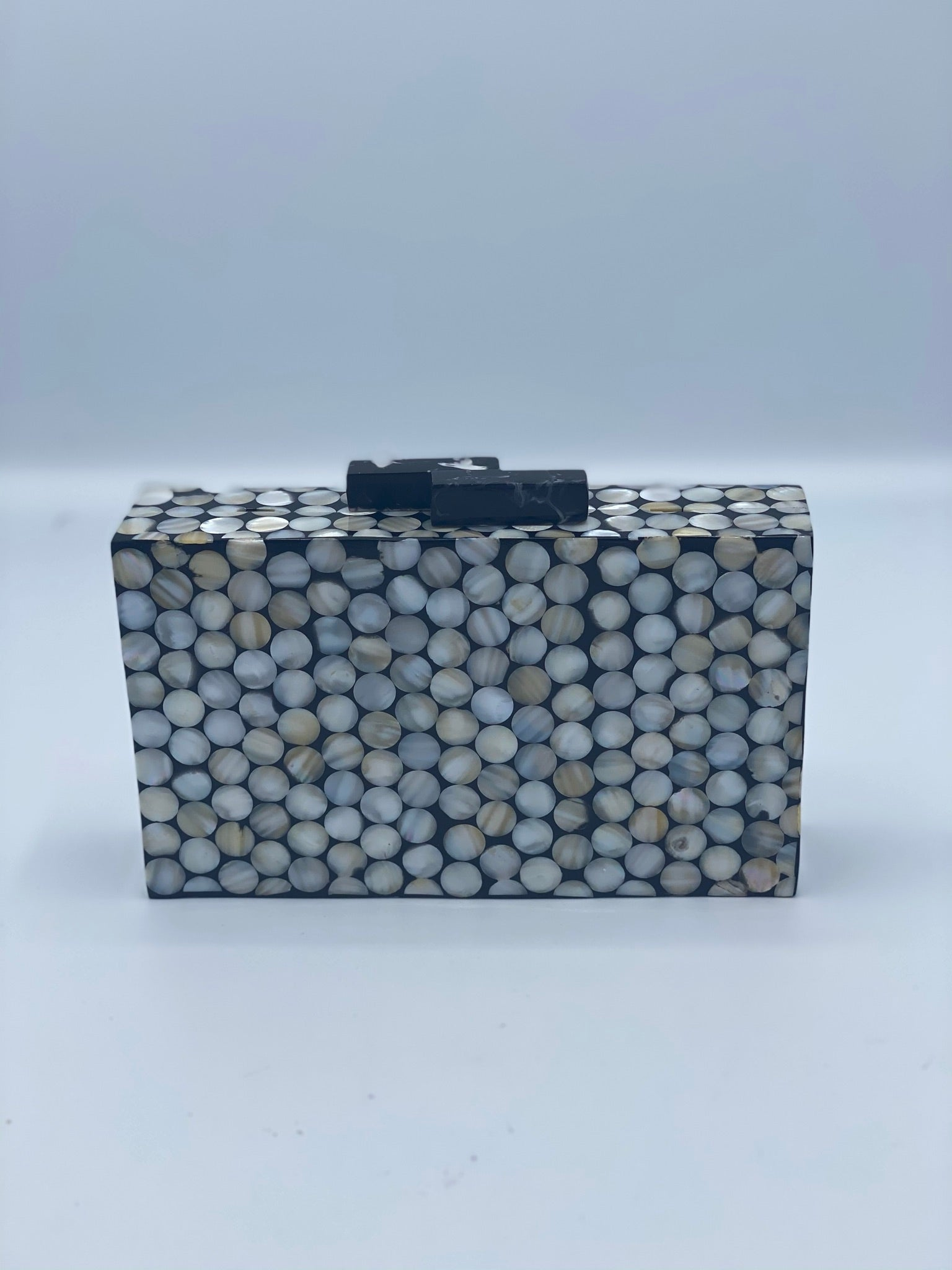 Handcrafted Pixel Ivory and Black Mother Of Pearl Clutch