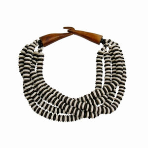 Open image in slideshow, Bead Layered Twist Choker Necklace with  Closure
