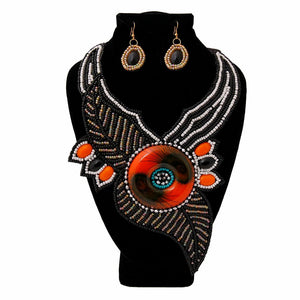 Open image in slideshow, Beaded Leaf Bib Necklace Set
