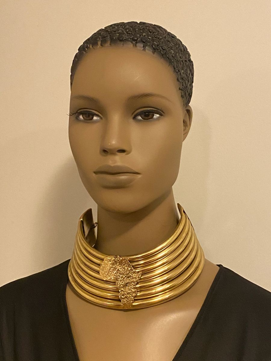 Queen N'Kama Brass Pipe Choker With Map