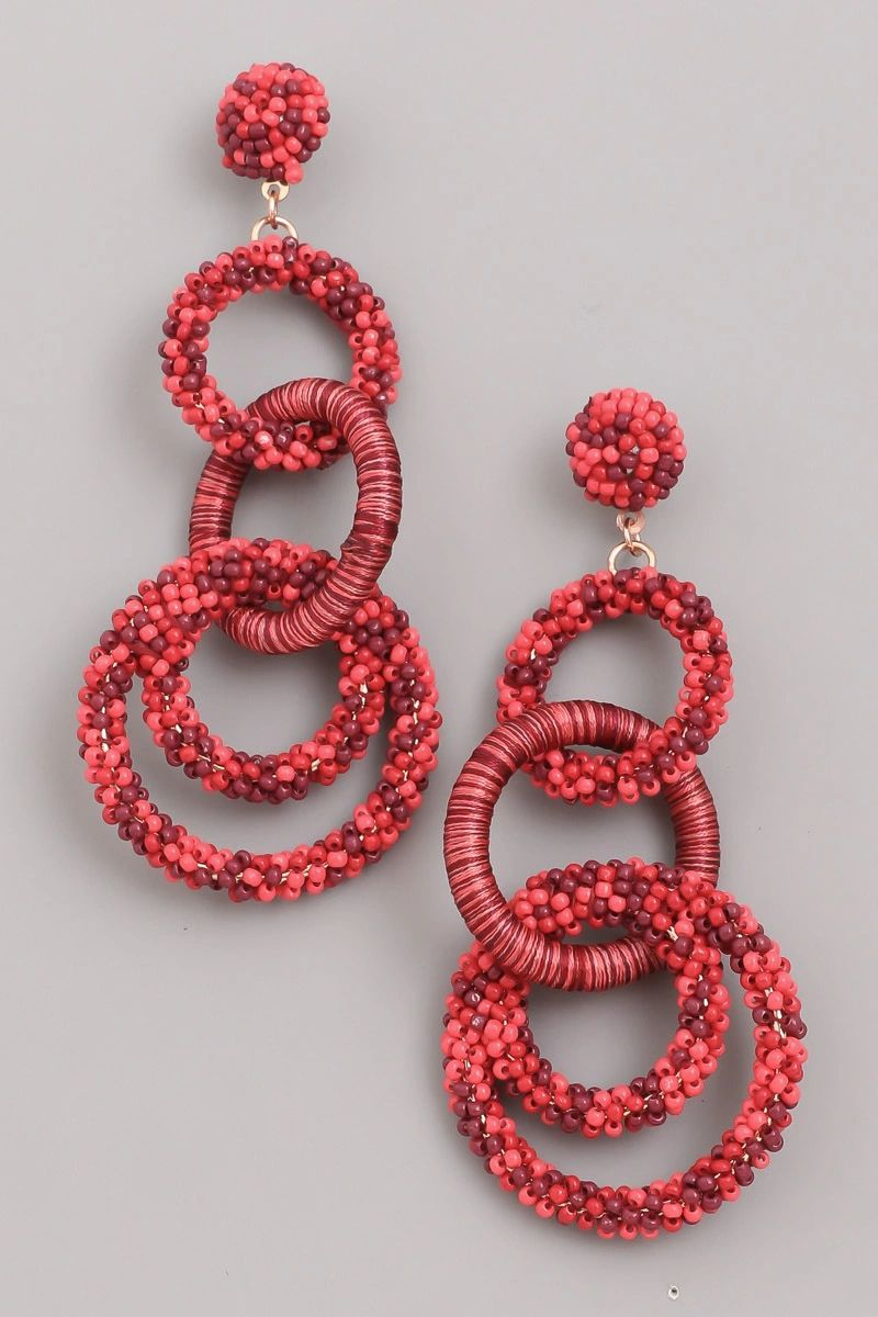 Seed Beaded Circle Link Earrings