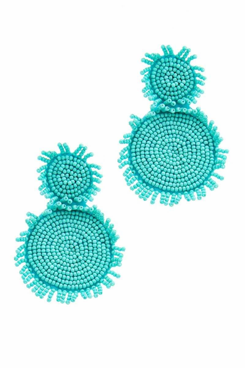 MULTI BEADED DOUBLE CIRCLE EARRING