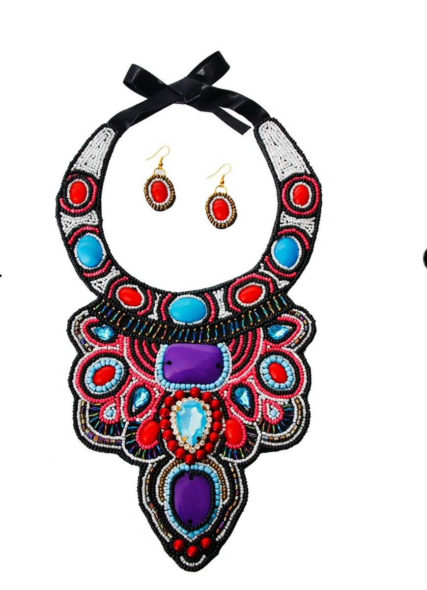 Multi Color Bead and Crystal Bib Necklace Set