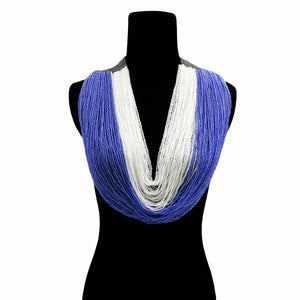 Open image in slideshow, Blue and White Long Layered Seed Bead Necklace