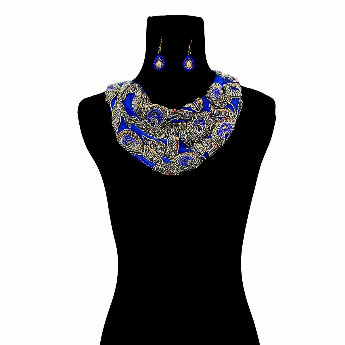 Handmade Blue Chiffon Scarf Necklace Set with Embroidered Beads and Sequins