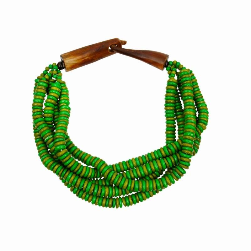 Bead Layered Twist Choker Necklace with  Closure