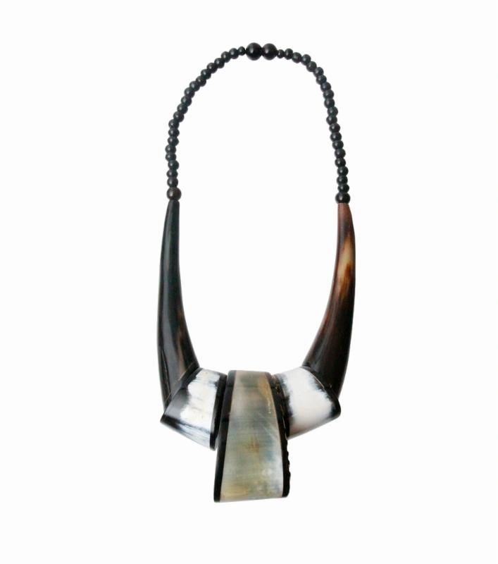 beaded carved buffalo horn necklace
