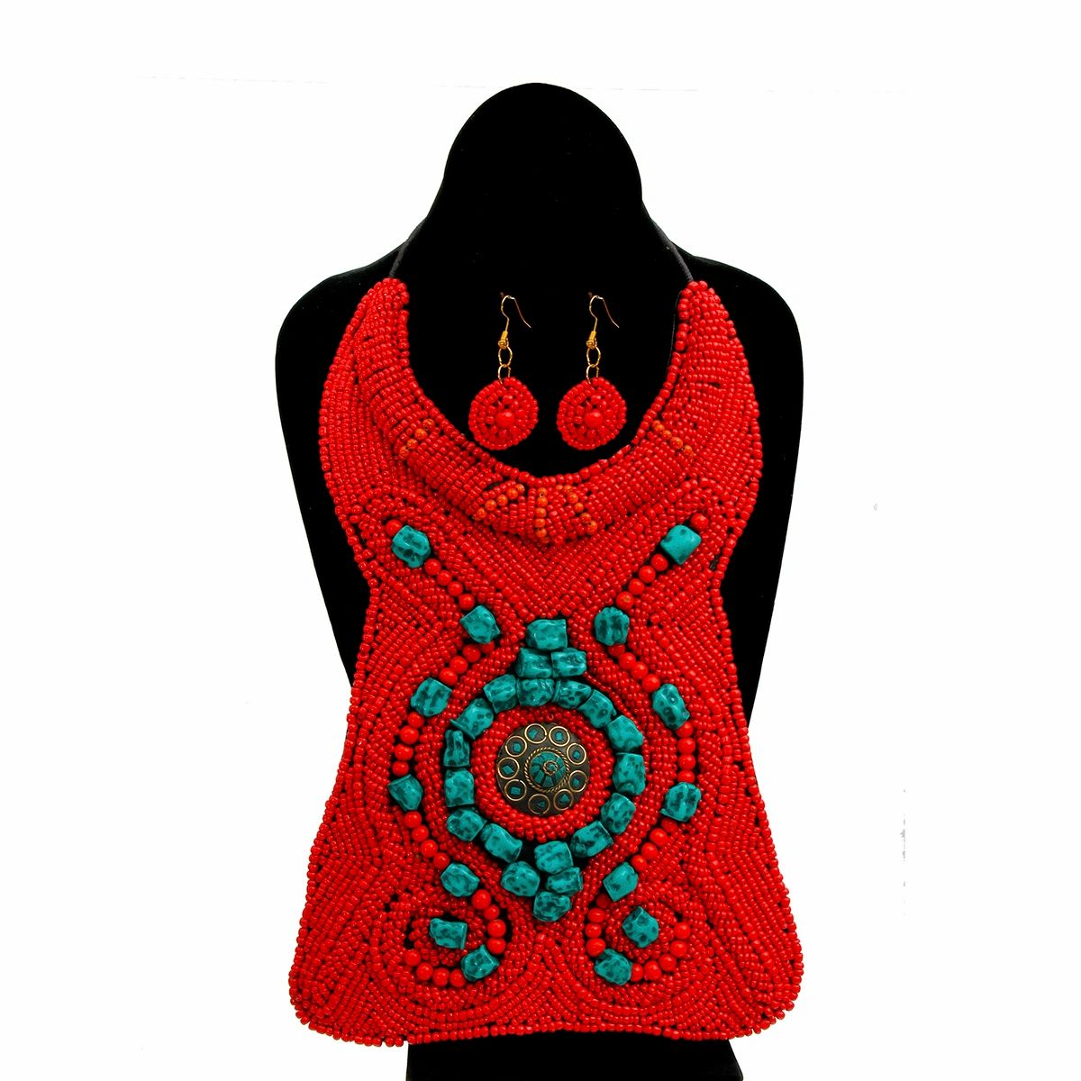 red and turquoise bead collar long necklace