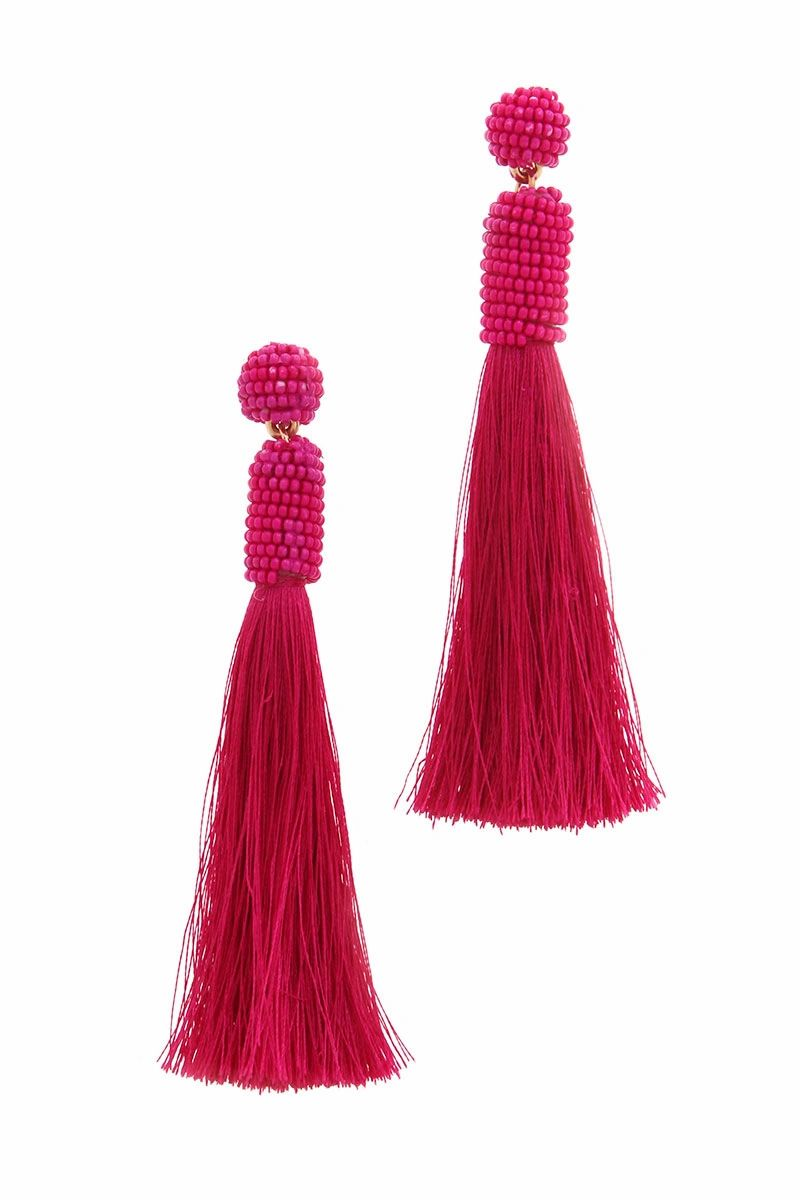 BEADED TASSEL POST DROP EARRING