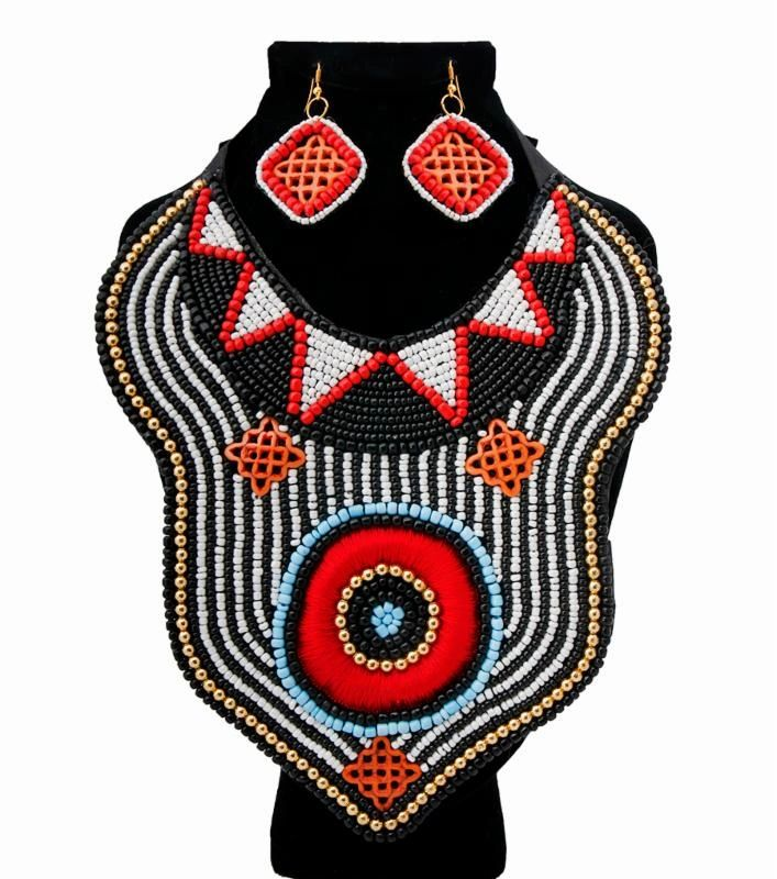 Black and White Bead and Red Thread Bib Necklace Set