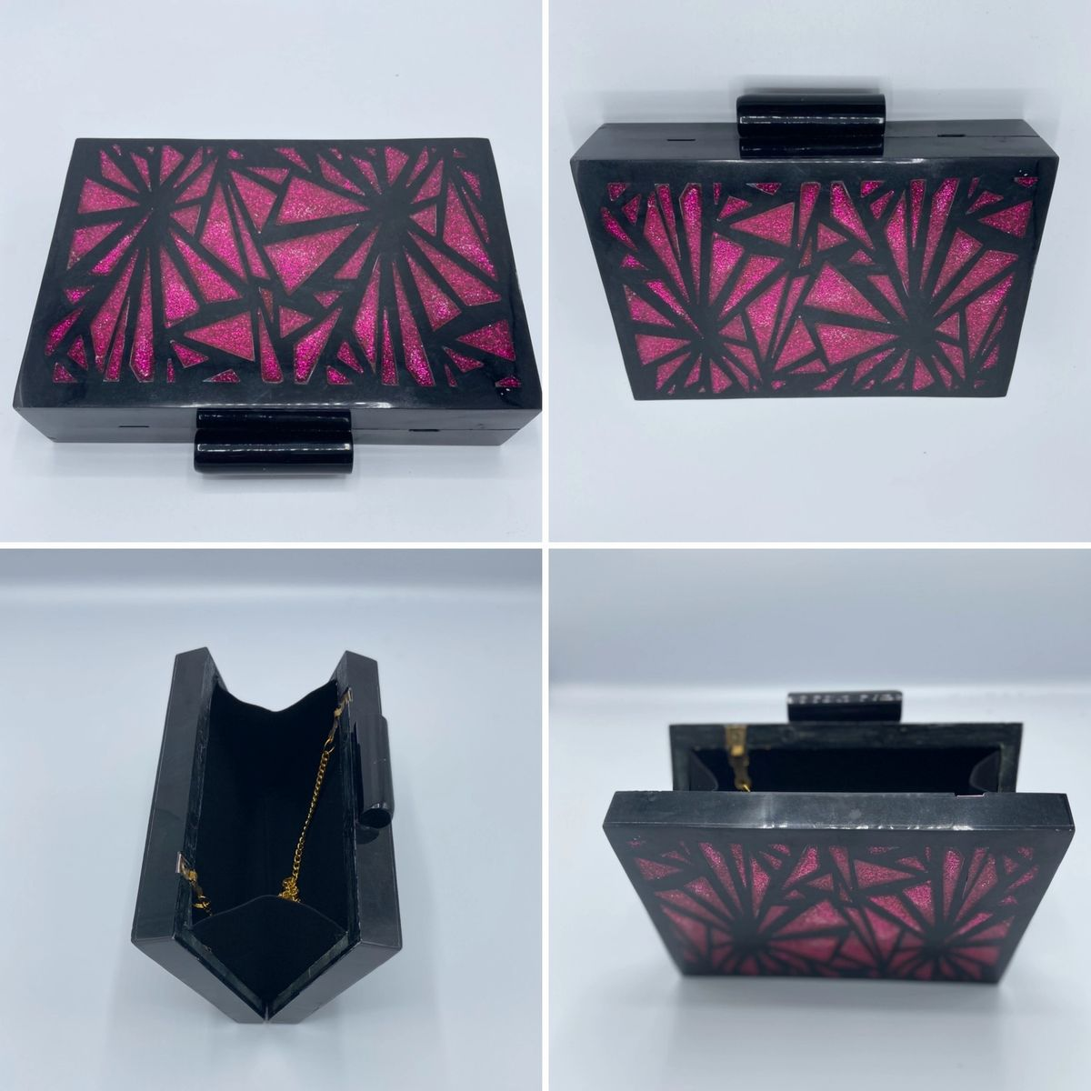 black and pink acrylic clutch
