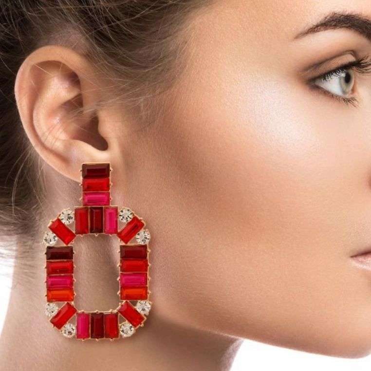 red baquette crystal drop earrings