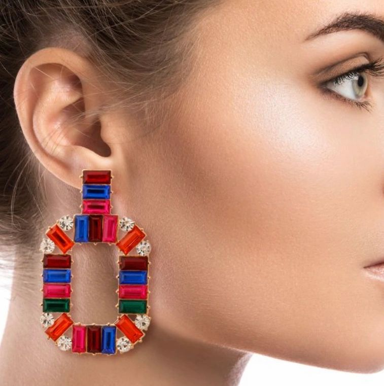 red & blue baquette crystal drop earrings on model