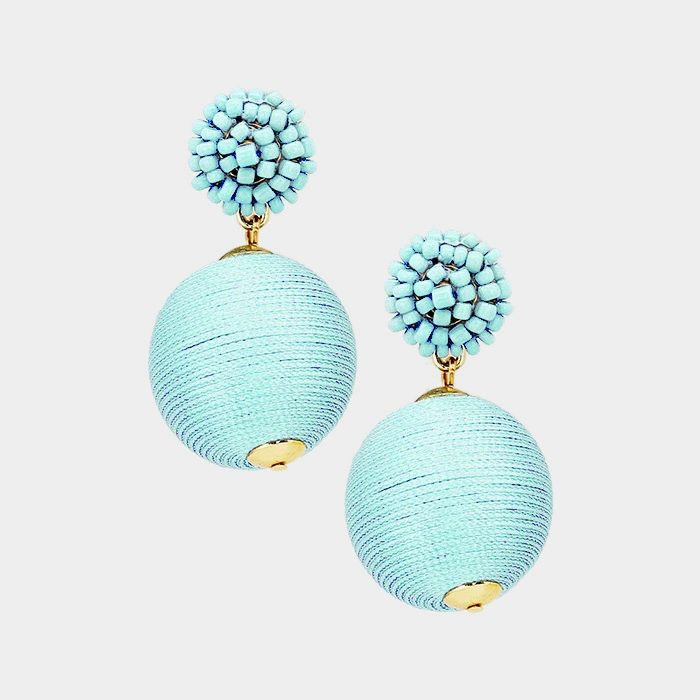 BEADED BALL THREAD BALL DANGLE EARRINGS