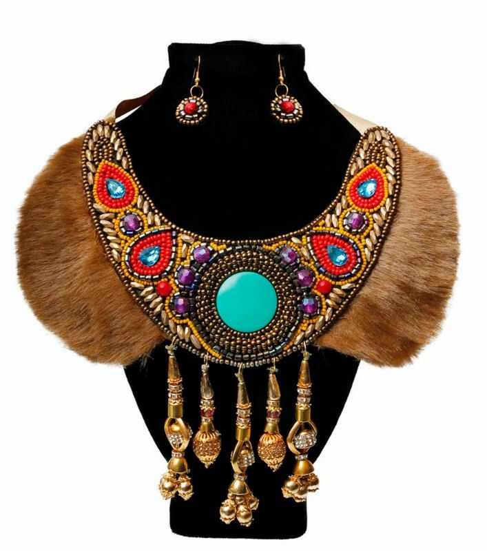 Multi Color Bead and Fur Collar Bib Necklace Set with Gold and Rhinestone Drops