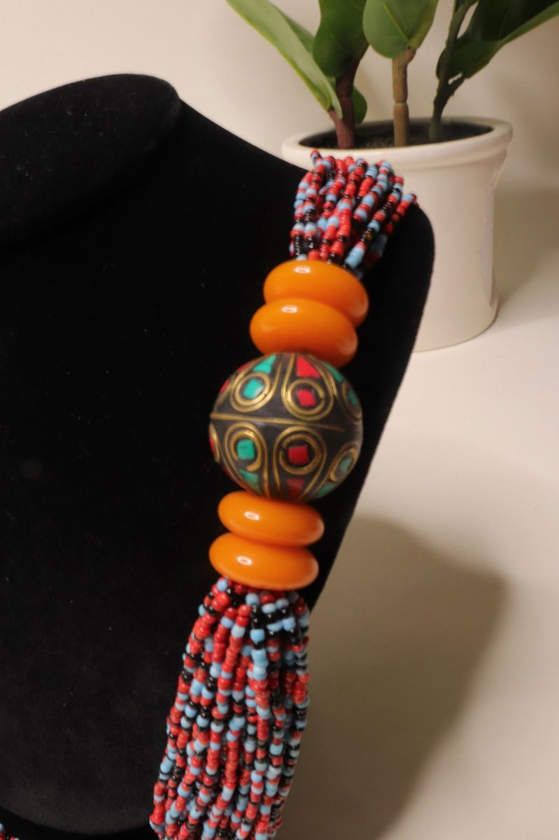 Long Layered Multi Color Seed Bead and Mosaic Ball Necklace